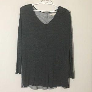 LOFT Long Sleeve VNeck Color Block Soft Tee Sz XL